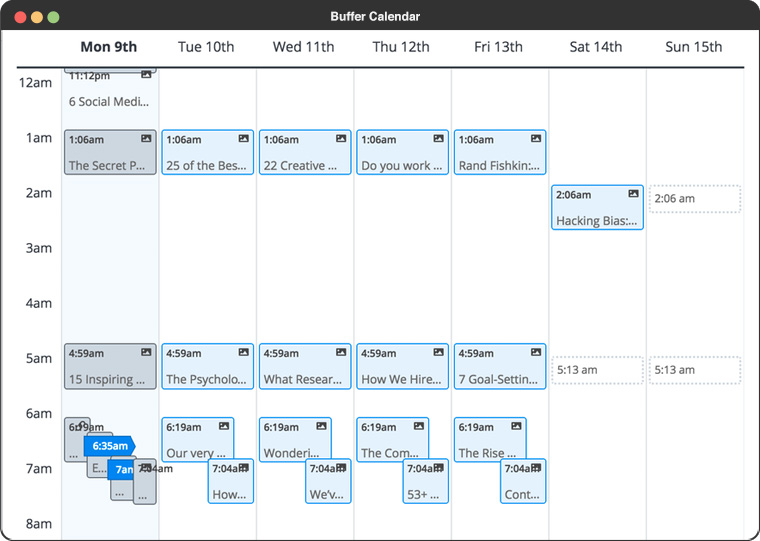buffer calendar post management