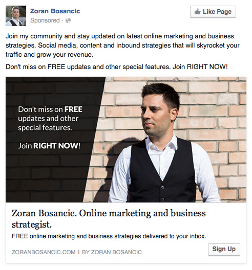 facebook ad targeting strategies ad example